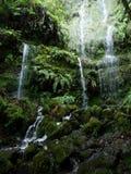 Wąski biały strumień wodni przepływy nad mokrą kamienną falezą Fotografia Royalty Free