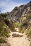 Wąski skalisty jar na śladzie Przegrana palmy oaza, Joshua drzewa park narodowy, Kalifornia zdjęcie royalty free