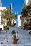 Wąskie ulicy nabrzeżny elita turystyczny grodzki Agios Nikolaos Zdjęcia Royalty Free