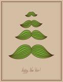 Wąsy drzewna kartka bożonarodzeniowa, modnisia styl, Obrazy Royalty Free