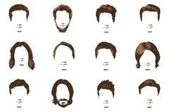 Wąsy i broda Ustawiający na białym tle Modnisia styl mężczyzna ` s fryzura Obraz Royalty Free