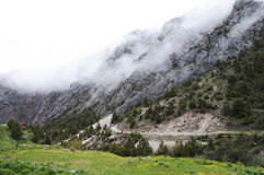 Wąwóz Dugoba, Kirgistan, zaniechana pięcie baza Obrazy Stock