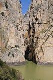 Wąwóz i most, El Chorro, Hiszpania. fotografia stock