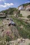 Wąwóz przy Staithes, North Yorkshire przy niskim przypływem Obraz Royalty Free