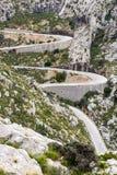 Wężowaty drogowy kierunku sa calobra, majorca Fotografia Stock