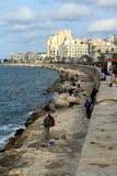 Wędkarz na Śródziemnomorskim w Aleksandria zdjęcia stock
