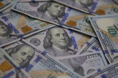 Wędkujący widok U S Sto Dolarowych rachunków Rozpraszających W górę zakończenia zdjęcia royalty free