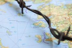 Wędrownych kryzysów uchodźców Światowa mapa zdjęcia royalty free