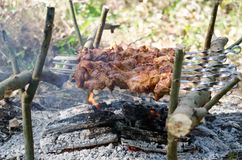 Węgiel drzewny i ogień zdjęcie stock