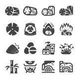 Węgiel drzewny ikony set royalty ilustracja