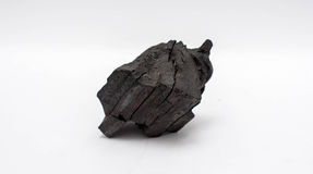 Węgiel drzewny na białym tle Zdjęcie Royalty Free