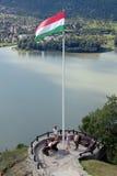 Węgier flaga z pięknym krajobrazem Zdjęcia Stock