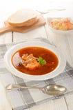 Węgier rybia polewka w zupnym talerzu, sałatce i chlebie, Zdjęcia Stock