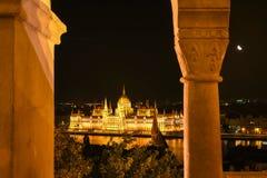 Węgierski parlament przy nocą w Budapest, Węgry Obrazy Royalty Free