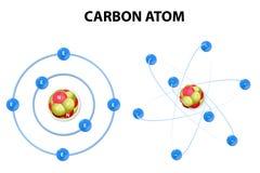 Węgla atom na białym tle. struktura Fotografia Stock