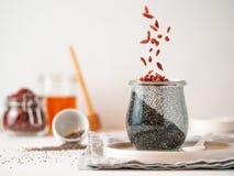 Węgla drzewnego dwa kolorów chia pudding z goji, kopii przestrzeń zdjęcie royalty free