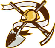 węglowy hardhat górnika pickax łopaty rydel Obraz Royalty Free