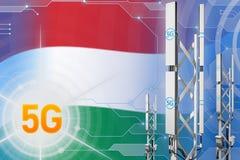 Węgry 5G przemysłowa ilustracja, ogromny komórkowy sieć maszt lub wierza na techniki tle z flagą, - 3D ilustracja ilustracji