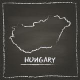 Węgry konturu mapy wektorowa ręka rysująca z kredą Zdjęcia Royalty Free