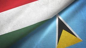 Węgry Lucia i święty dwa flagi tekstylny płótno, tkaniny tekstura ilustracja wektor