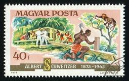WĘGRY - OKOŁO 1975: Znaczek pocztowy drukujący w Hungarybuilt w górę szpitala w Afryka, około 1975 Fotografia Stock