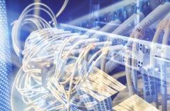 Włókno Okulistycznego włącznika interfejs Włókno kabla serw z technologia stylem przeciw włókna światłowodowego tłu zdjęcia stock