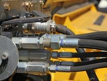 włączniki hydrauliczni rolniczej maszynerii flancowania ikrzaka wiosna fotografia royalty free