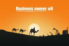 Właściciel biznesu olej, sylwetka wielbłądzi jeźdzowie w pustyni zdjęcia royalty free