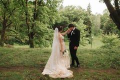Właśnie coupleon zieleni tła, miotły i panny młodej odprowadzenie w lesie zamężny, zdjęcia royalty free