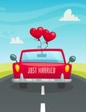 Właśnie maarried samochód z balonami, tylny widok, ślubny pojęcie, kreskówka wektoru ilustracja ilustracji