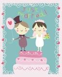 Właśnie pary małżeńskiej kreskówka Obrazy Stock