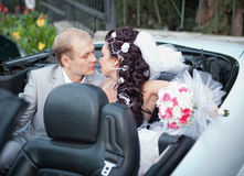 Właśnie poślubiający w dzień one ślub Obrazy Royalty Free