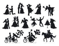 Właśnie zamężny, nowożeńcy, państwo młodzi sylwetki ustawiać ilustracji
