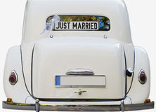Właśnie zamężny - retro samochód Obrazy Stock