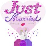 Właśnie zamężny tekst dla ślubnej karty obraz royalty free