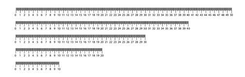 Władca 10, 20, 30, 40, 50 cm narzędzia pomiarowego Władcy skalowanie Władcy siatka cm Wielkościowe wskaźnik jednostki Metryczny c ilustracja wektor