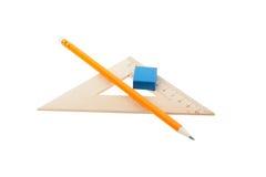 Władca ołówkowy i elastyczny zespół obrazy stock