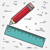 Władcy i ołówka cienki kreskowy projekt Władca i ołówkowa pióro ikona ru Obraz Royalty Free