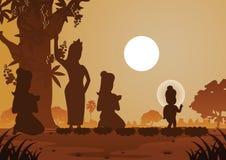 Władyka Buddha był urodzona pod drzewem royalty ilustracja