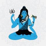 Władyka Shiva Hinduscy bóg ilustracyjni Indiański Najwyższy bóg Shiva obsiadanie w medytaci Zdjęcia Stock