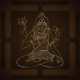 Władyka Shiva Hinduscy bóg ilustracyjni Indiański Najwyższy bóg Shiva obsiadanie w medytaci Obraz Royalty Free