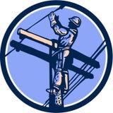Władza gracza liniowego Repairman wspinaczki słupa Retro okrąg Fotografia Stock