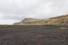 Władza słup z zmierzchem w Iceland Światło i cień nad lan Zdjęcia Royalty Free