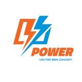Władza - wektorowa loga szablonu pojęcia ilustracja Błyskawicowy elektryczność znak elementy projektu podobieństwo ilustracyjny w ilustracja wektor