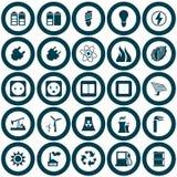 Władzy i energii ikony set Obrazy Stock