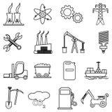 Władzy i energii kreskowe ikony ustawiać Zdjęcie Stock