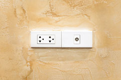 Władzy nasadka przy kątem ściana, elektryczni ethernety i anteny nasadka, Fotografia Stock