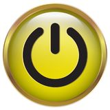 Władzy zmiany ikona w żółtej błyszczącej złoto ramie Obrazy Royalty Free