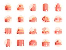 Własność barwi ikona set Zawrzeć ikony, dom, hotel, kurort, budynek i więcej jak do domu, royalty ilustracja