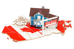 Własność dla sprzedaży i czynsz w Kanada pojęciu, 3D rendering ilustracji